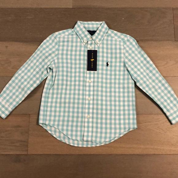 Ralph Lauren Polo Plaid Check Dress Shirt Kids Size 2 2T 4 4T NEW